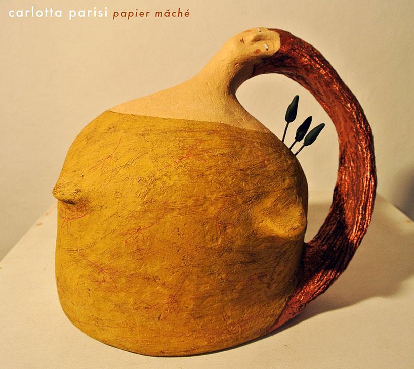 Carlotta Parisi, scultura Donne Val d'Orcia in papier maché